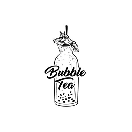 Boba tea hand drawn vector illustration. Delicious summer refreshment, taiwan herbal drink ink pen freehand drawing with lettering. Fresh beverage with mint leaves, tapioca pearls and straw