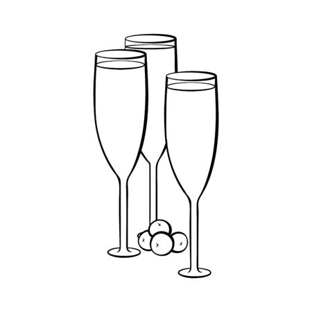 Full champagne glasses hand drawn illustration. Crystal wineglasses with alcohol beverage and olives colouring picture. Drink with appetizer, aperitif. Special occasion celebration outline symbol