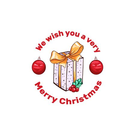 Merry Christmas cartoon vector banner template. Cute Santa red balls with gift box illustration. Happy New Year banner layout. December holidays wishes poster design