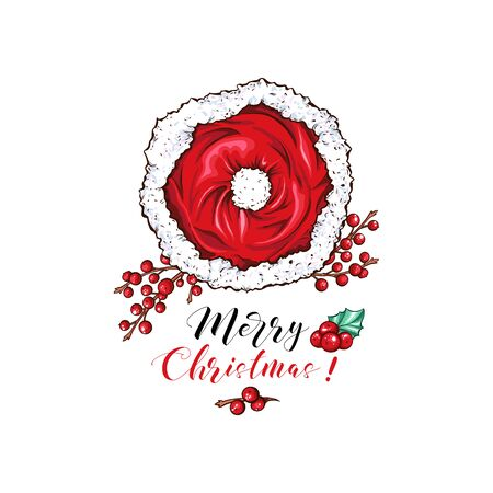 Merry Christmas cartoon vector banner template. Cute Santa red hat with candy sticks and mistletoe twig illustration. Happy New Year banner layout. December holidays wishes poster design Ilustração