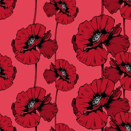 Poppies blossom hand drawn seamless pattern. Floral ink pen color texture. Wild flowers color illustration. Field wildflower vintage freehand drawing. Wallpaper, wrapping paper, textile design Ilustração