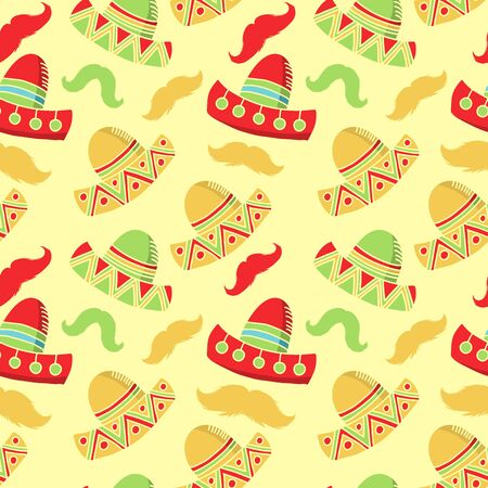 Cinco de mayo funny festive accessory and wearing sombrero or mexican hat. latin american celebration of 5th of may. Festive mexican seamless vector pattern