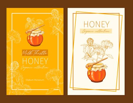 Honey vintage banners design. Engraved Milk Thistle honey flower with glass honey jar and drop.