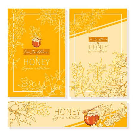 Honey vintage banners design. Engraved sea buck thorn honey flower with glass honey jar and drop. Hand drawn orange logo templates set. Ilustração