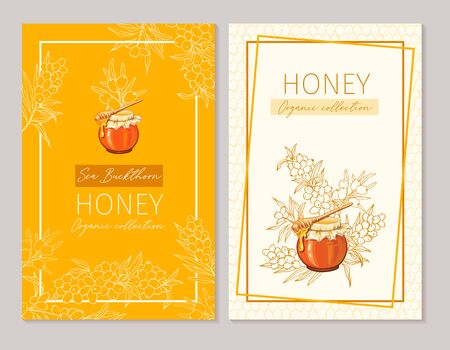 Honey vintage banners design. Engraved sea buckthorn honey flower with glass honey jar and drop. Ilustração