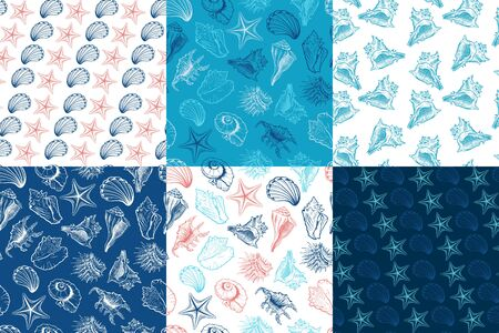 Seashells and starfish vector seamless patterns collection. Marine life creatures drawings. Sea urchin freehand outline. Underwater animals engraving. Wallpaper, wrapping paper, textile design