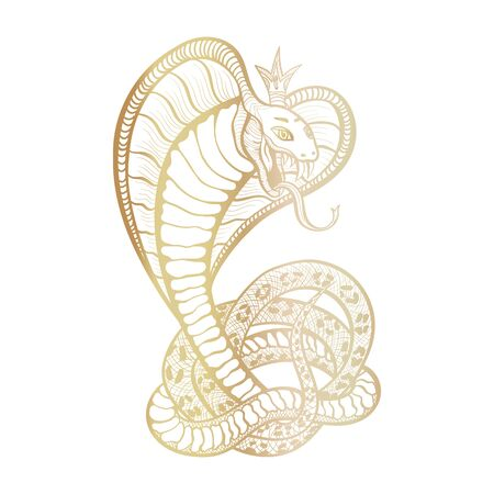 King Cobra with hood and crown. Golden vector isolated viper snake, hand-drawn luxury  for hunting, sports theme. Mascot tattoo template with fangs and tongue. Feminine character.