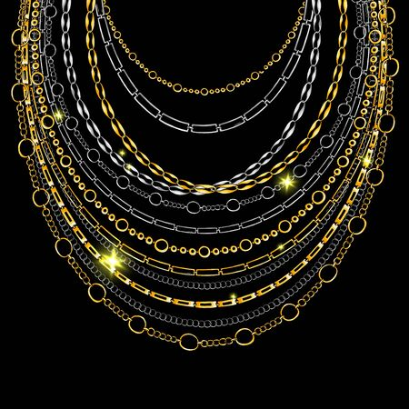 Golden and Silver Chain Neck Lace. Vector isolated on Black Background with Stars and Glowing Lights. Trendy Accessory Illustration Illusztráció