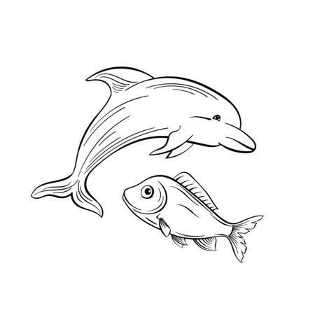 Dolphin and fish monochrome flat vector illustration. Sea animals, intelligent mammal freehand sketch. Saltwater creature black ink drawing. Marine life, fauna representative sketched outline Vettoriali