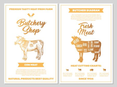 Butchery Shop Poster with Cow Meat Cutting Charts in Golden Colors on White Blackground. Vector Vertical Print Templates. Sketch Hand-drawn Farm Animal Illustration. Butchers Guide Diagram Design