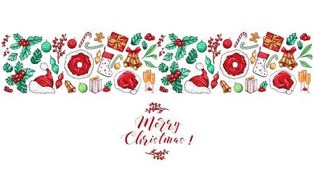 Christmas border design for greeting card. Vector illustration, merry xmas header with santas hats, wallpaper or backdrop decor banner background