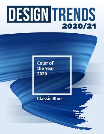 Color del concepto de vector de año 2020. Cartel de pintura de pincel de tendencia de color azul clásico. Trazos de pincel de render 3d realista azul. Ilustración abstracta. Portada de la revista, plantilla de maqueta. Ilustración de vector