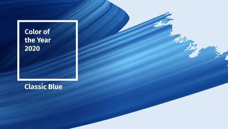 Color del concepto de vector de año 2020. Pintura de pincel de tendencia de color azul clásico. Trazos de pincel de render 3d realista azul. Ilustración de cinta de Vector abstracto para publicidad, publicaciones de blog y otros