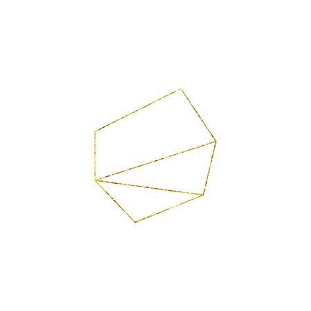 Gold Geometric Crystal Frame with Detailed Vector Foil Texture. Isolated Golden Thin Line Art or Outline Linear Polygonal Textured Frame. Art Deco and Modern Style. Sparkle Glitter Dust