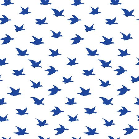 Spring Swallow Birds Simple Print. Seamless Pattern with Birds Silhouettes for fabrics textile print design, wallpapers. Blue Elegant flying crabe birds isolated on white background