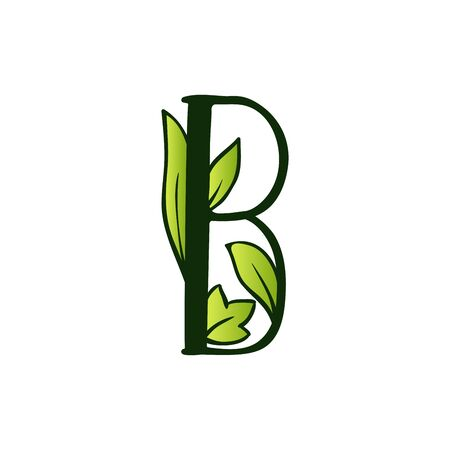 Green Doodling Eco Alphabet Letter B.Type with Leaves. Isolated Latin Uppercase. Typography Bold Spring Letter or Doodle abc Characters for Monogram Words and Logo.
