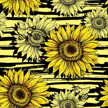 Sunflowers field seamless vector pattern for fabric textile design. Horizontal stripped brush strokes, ready to print. Yellow wildflowers with black artistic abstract lines