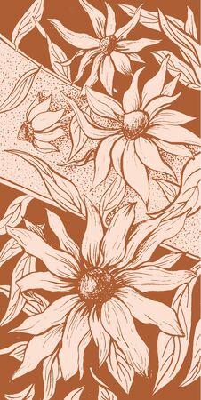 Flowers floral background, aster blossom ornate floral decoration vintage art design. echinacea blossoms, flowers flourish buds bloom, vertical sepia imprint texture background