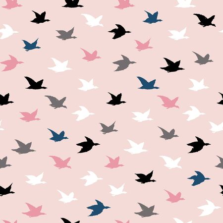Childish Colorful Crane Birds Japanese Print. Seamless Pattern with Simple Birds Silhouettes for pillows print design, wallpapers, backdrops or fabric textile. Flying elegant swallows on pink Ilustração