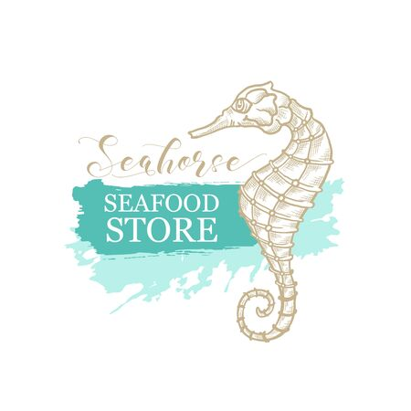 Seahorse vector thin line art design for seafood store and fish market logo. Seahorse in golden pencil hatching, calligraphy and sketch texture on marine green or turquoise paint stroke background