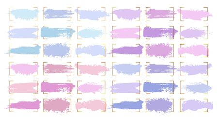 Paint brush strokes, abstract pastel color smudge blobs and watercolor splashes, vector backgrounds. Pink purple and violet blue light color blobs and smear strokes with grunge paintbrush texture