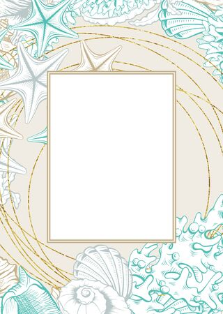 Vertical Frame with Gold Seashells. Isolated vector poster with contour drawing sea shells for wedding design and thank you cards templates.
