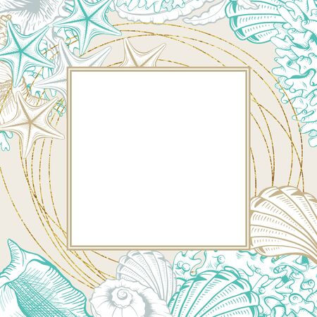 Square Frame with Seashells. Isolated vector poster with contour drawing sea shells for wedding design and thank you cards templates. Ilustracje wektorowe