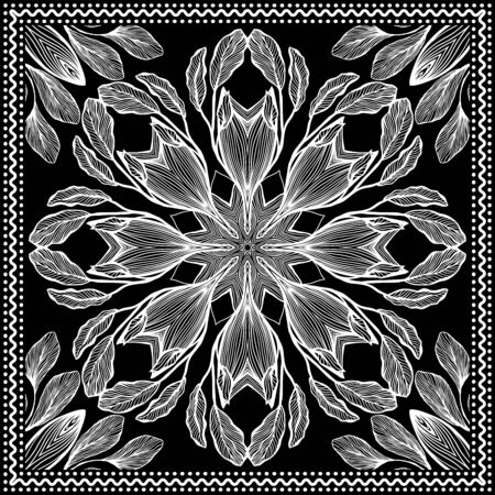 Bandana Clipart Black and White. Bandana Silk Scarf Pattern. Headband clipart print, vector floral illustration with abstract waves and lines. Use for sublimation printing