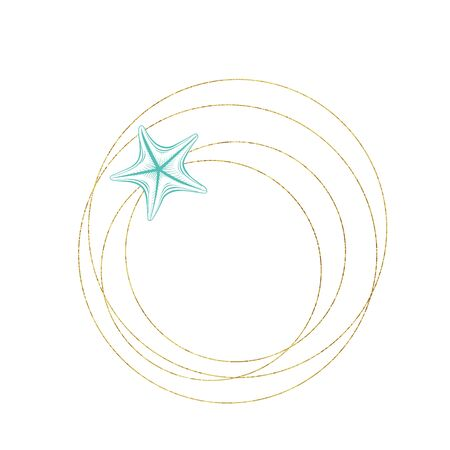 Marine art wreath, seastar and ocean seashell sketch circles, vector gold geometric frame. Turquoise underwater reef corals on white background for wedding, summer travel and tropical vacations design