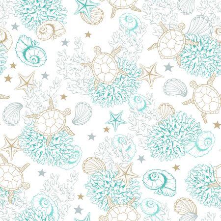 Ocean seashells pattern background, vector sketch line art sea shells, corals and turtles. Underwater marine pattern, engraved design in pastel gold and turquoise color, sea reef shells background Vector Illustration