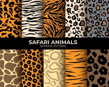Tierfell nahtlose Musterhintergründe, Vektorset aus Leopard, Tiger, Zebra und Giraffenhautdruck. Afrikanisches Tierfellmuster, abstrakte einfache braune Streifen, Flecken und Linien, natürlicher Texturstoff
