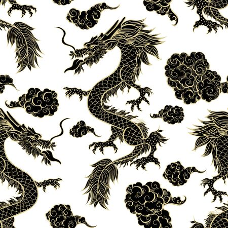 Oriental dragon flying in clouds seamless pattern. Traditional Chinese mythological animal hand drawn illustration. Golden Black festival serpent on white background. Wrapping paper, textile design