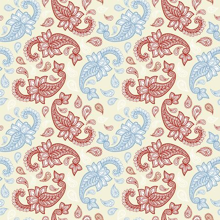 Paisley pattern on yellow background, seamless gold, red and white floral ornament, vector design. Abstract simple vintage Paisley pattern decoration, pastel pale colors floral fabric background Çizim