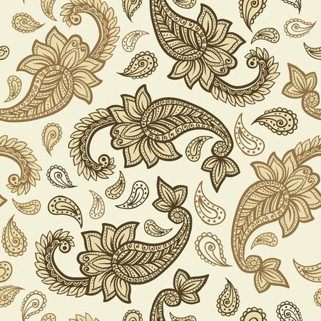 Paisley pattern on yellow background, seamless gold, red and white floral ornament, vector design. Abstract simple vintage Paisley pattern decoration, pastel pale colors floral fabric background  イラスト・ベクター素材