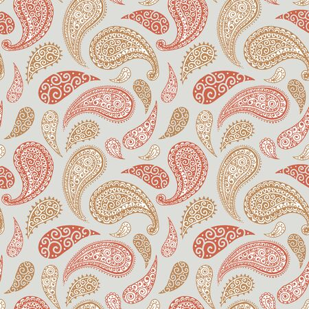 Paisley pattern background, seamless floral ornament, vector simple vintage style design. Abstract vintage Paisley pattern decoration, red, pink, pastel light blue and white pale color background