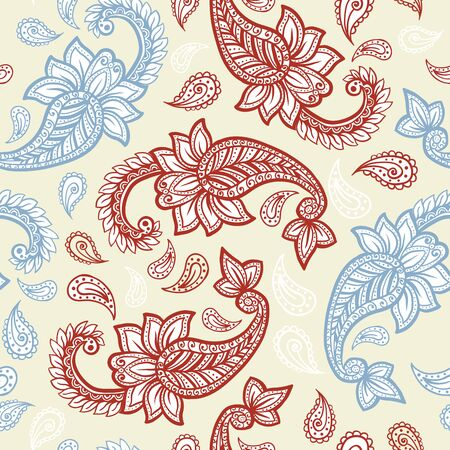 Paisley pattern on yellow background, seamless gold, red and white floral ornament, vector design. Abstract simple vintage Paisley pattern decoration, pastel pale colors floral fabric background Иллюстрация