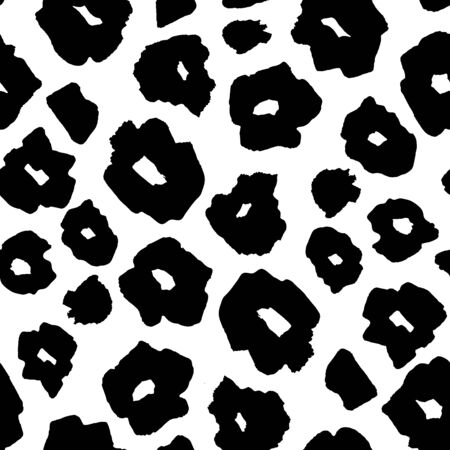 Black and White Safari pattern background, jaguar or cheetah panther animal skin print, vector seamless design. African safari leopard animal fur pattern with black spots background, modern decoration