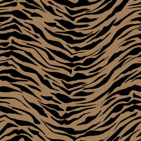 Realistic Safari pattern background, tiger animal skin print, vector seamless design. African safari leopard animal fur pattern with black spots background, ink modern decoration  イラスト・ベクター素材