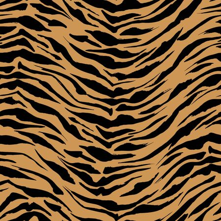 Realistic orange Safari pattern background, tiger animal skin print, vector seamless design. African safari leopard animal fur pattern with black spots background, black ink modern decoration