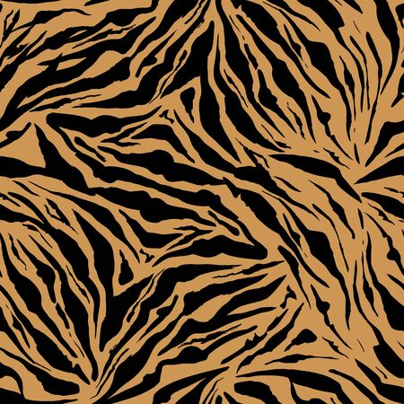Bright Safari pattern background, tiger animal skin print, vector seamless design. African safari leopard animal fur pattern with black spots background, modern decoration