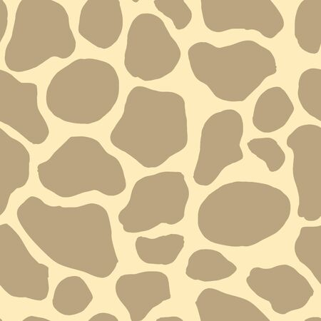 Safari pattern background, animal skin print of giraffe, vector seamless design. African safari abstract animal skin pattern with spots on light beige background, savanna decoration textile