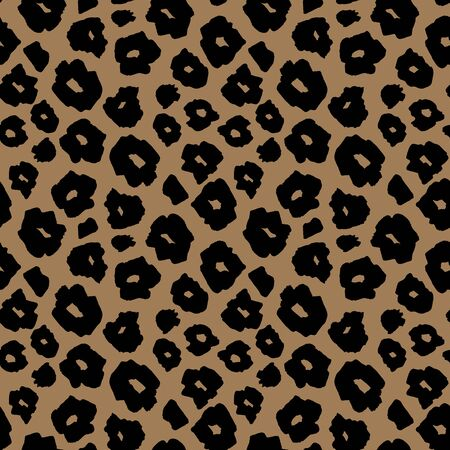 Safari pattern background, jaguar or cheetah panther animal skin print, vector seamless design. African safari leopard animal fur pattern with black spots on brown background, modern decoration