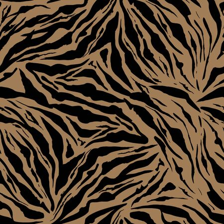 Beige Safari pattern background, tiger animal skin print, vector seamless design. African safari leopard animal fur pattern with black spots background, modern decoration  イラスト・ベクター素材
