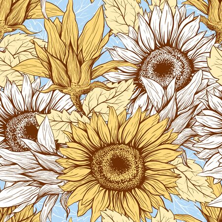 Pastel Sunflowers field seamless vector pattern for fabric textile design. Flat colors, easy to print. Line art colored yellow blue wildflowers with pastel orange leaves silhouettes.Sunflower Bloom