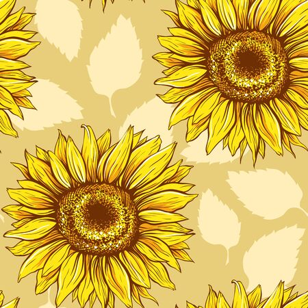 Sunflowers field seamless vector pattern for fabric textile design. Flat colors, easy to print. Line art colored yellow wildflowers with pastel orange leaves silhouettes