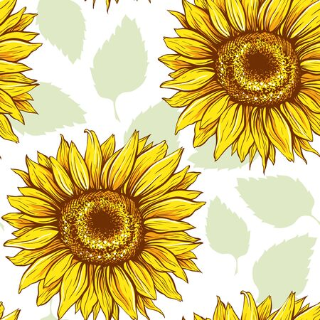 Sunflowers field seamless vector pattern for fabric textile design. Flat colors, easy to print. Line art colored yellow wildflowers with pastel green leaves silhouettes