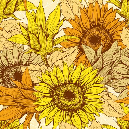 Warm Yellow Sunflowers field seamless vector pattern for fabric textile design. Flat colors, easy to print. Line art colored yellow wildflowers with pastel orange leaves silhouettes.Sunflower Blossom