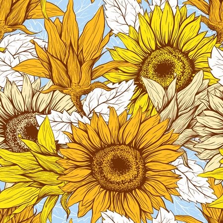 Sunflowers field seamless vector pattern for fabric textile design. Flat colors, easy to print. Line art yellow blue wildflowers with pastel orange leaves silhouettes.Sunflower Blossom  イラスト・ベクター素材