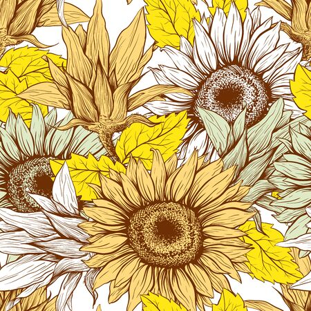 Bright Yellow Sunflowers field seamless vector pattern for fabric textile design. Flat colors, easy to print. Line art colored yellow wildflowers with pastel orange leaves silhouettes.  イラスト・ベクター素材