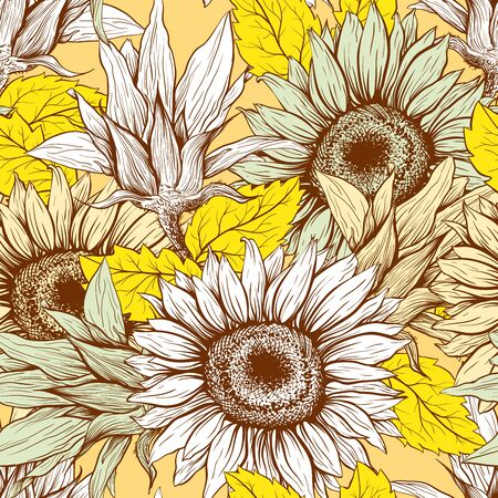 Sunflowers field seamless vector pattern for fabric textile design. Flat colors, easy to print. Line art modern pastel yellow wildflowers with pastel orange leaves silhouettes. Sunflower Blossom